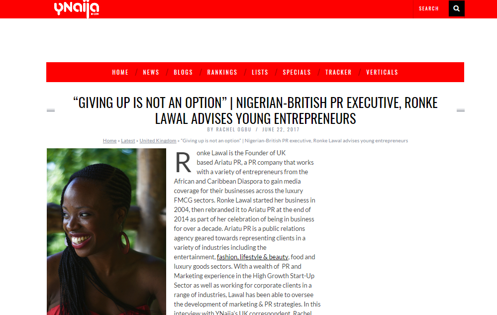 """GIVING UP IS NOT AN OPTION"" Ronke Lawal Ynaija Interview"