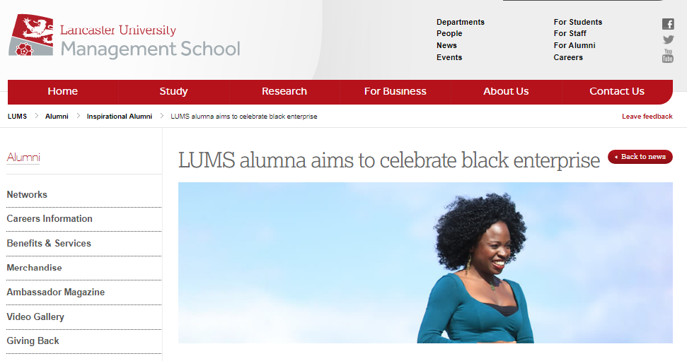 LUMS alumna aims to celebrate black enterprise