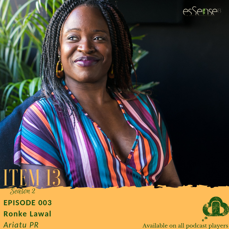 Public Relations for Your Food Business on the Item 13 Podcast Ronke Lawal